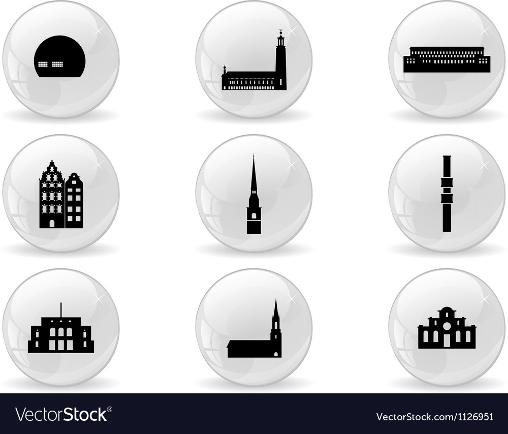 Web buttons landmark icons - stockholm vector | Price: 1 Credit (USD $1)
