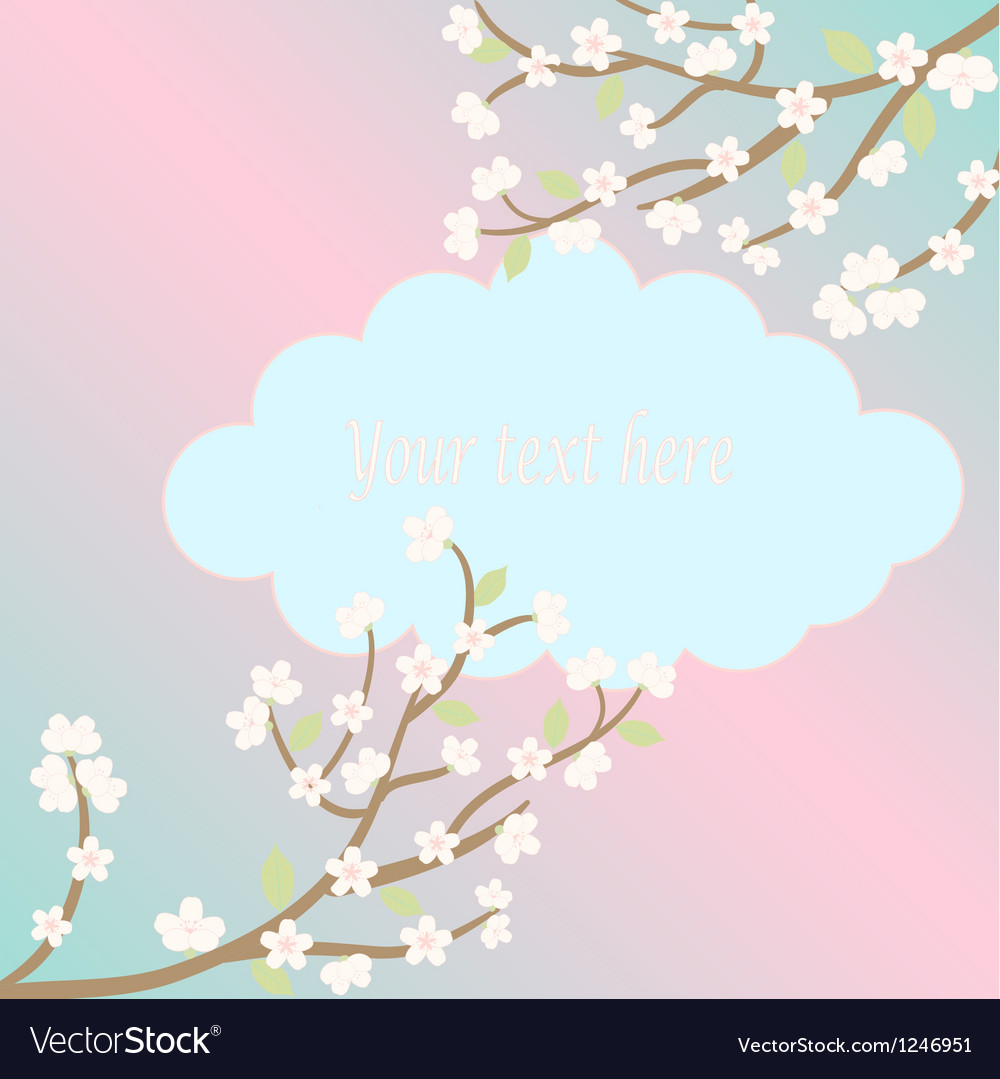 White sakura blossom card vector | Price: 1 Credit (USD $1)