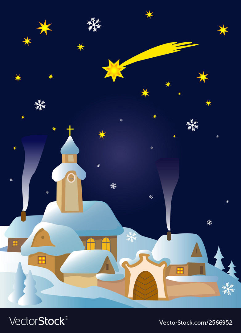 Christmas winter landscape vector | Price: 1 Credit (USD $1)