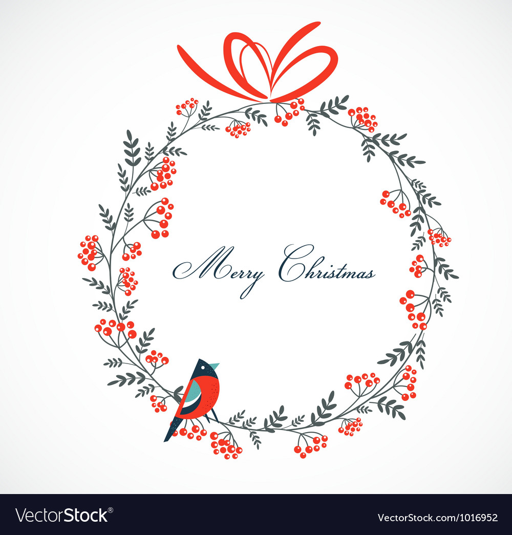 Christmas wreath with birds and ashberry vector | Price: 1 Credit (USD $1)