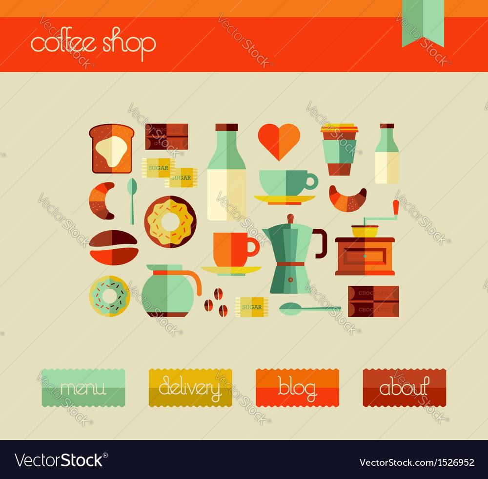 Coffee shop web design template set vector | Price: 1 Credit (USD $1)