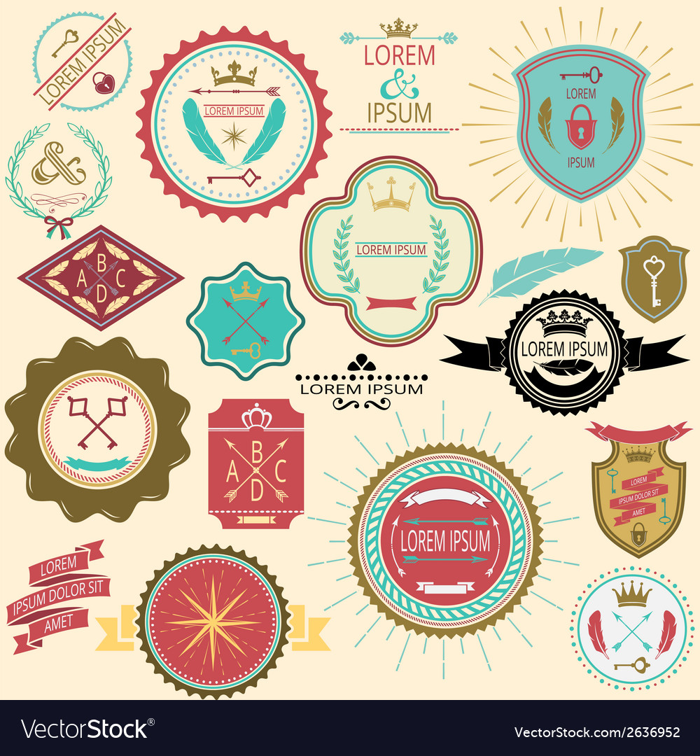 Collection of vintage labels and stamps for design vector | Price: 1 Credit (USD $1)