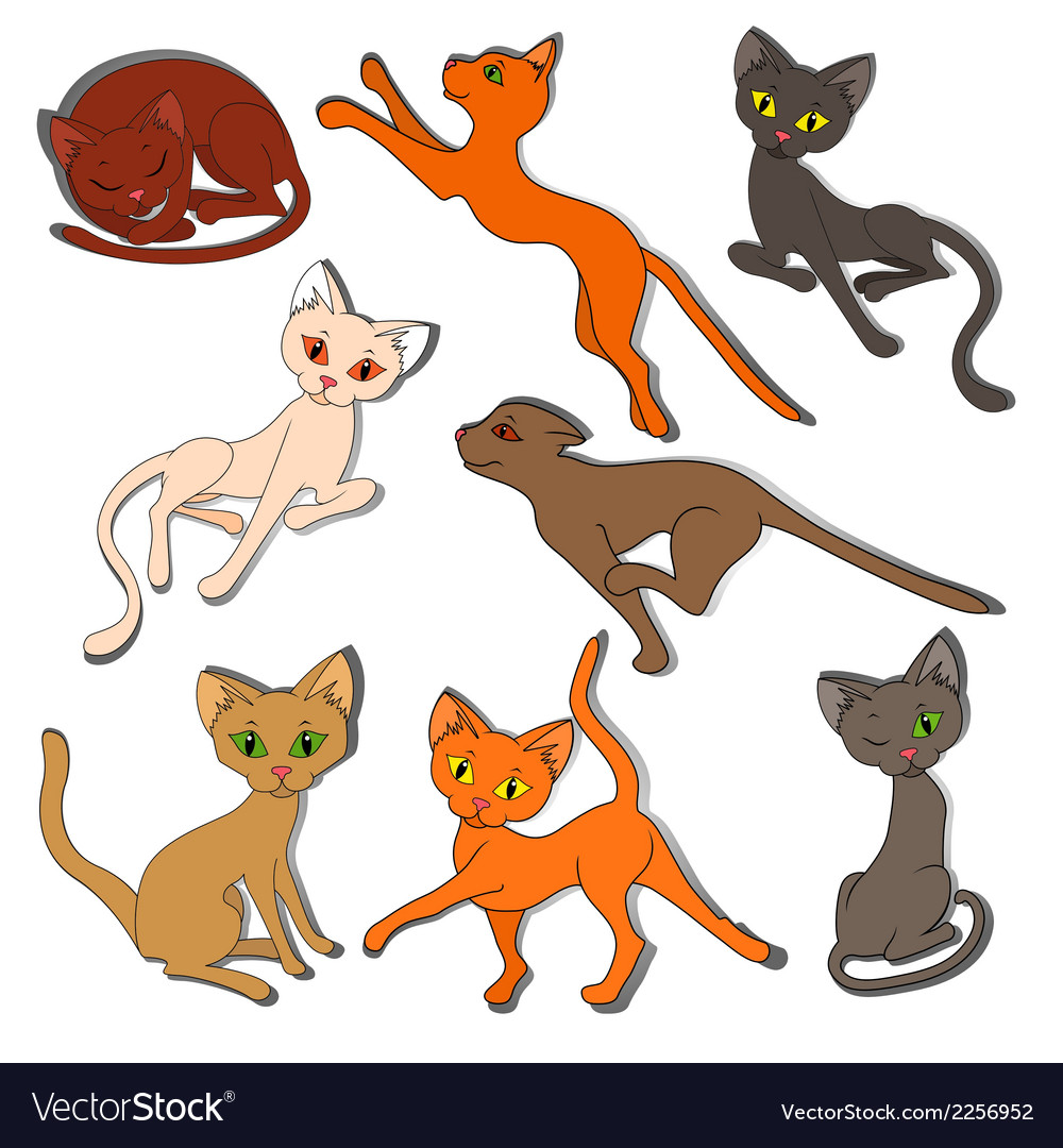 Eight colorful funny cats on a white background vector | Price: 1 Credit (USD $1)