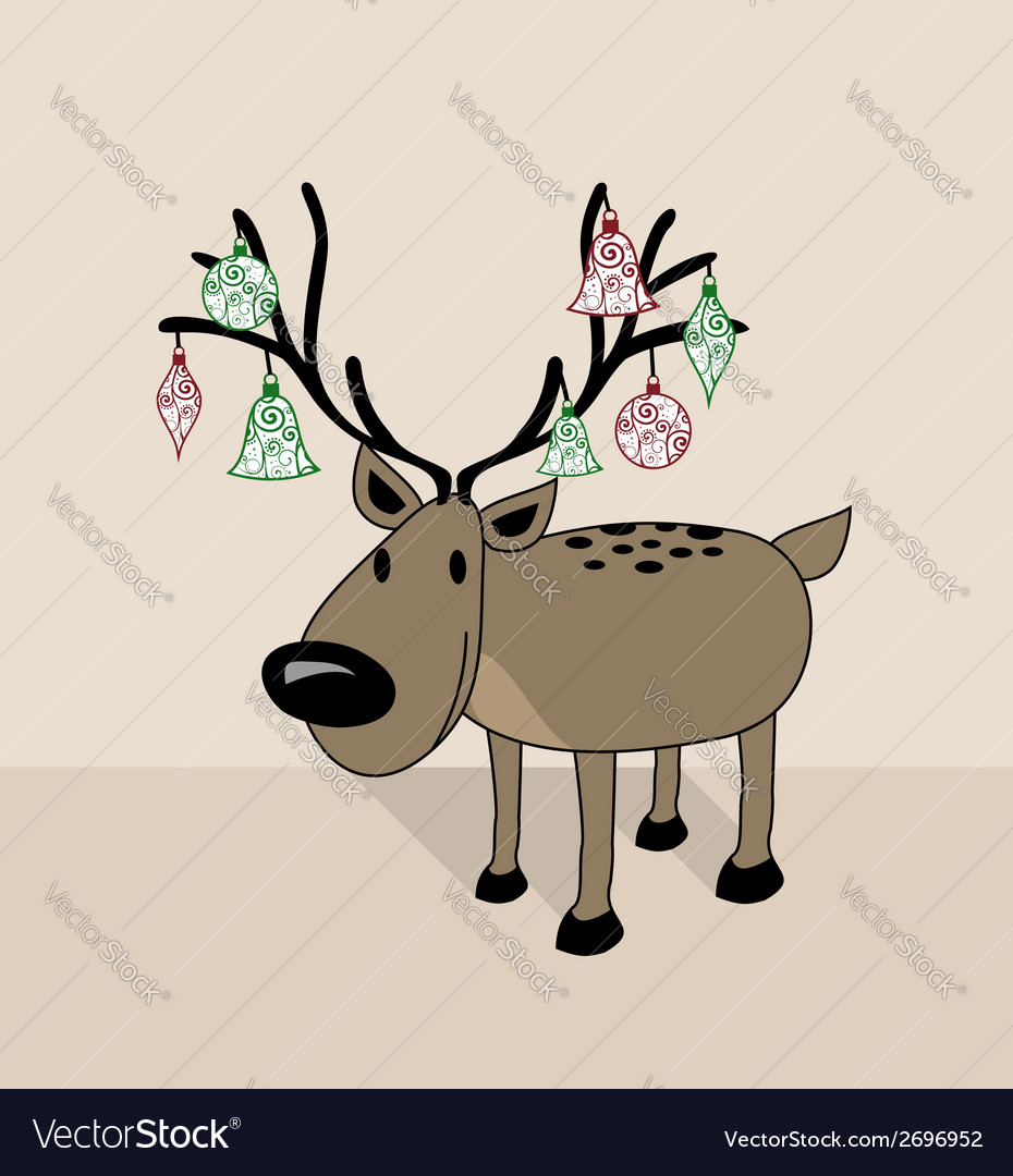 Merry christmas funny reindeer vector | Price: 1 Credit (USD $1)