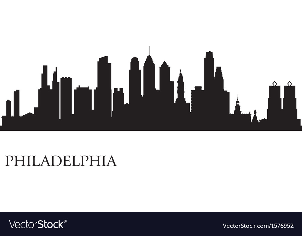 Philadelphia city skyline silhouette background vector | Price: 1 Credit (USD $1)