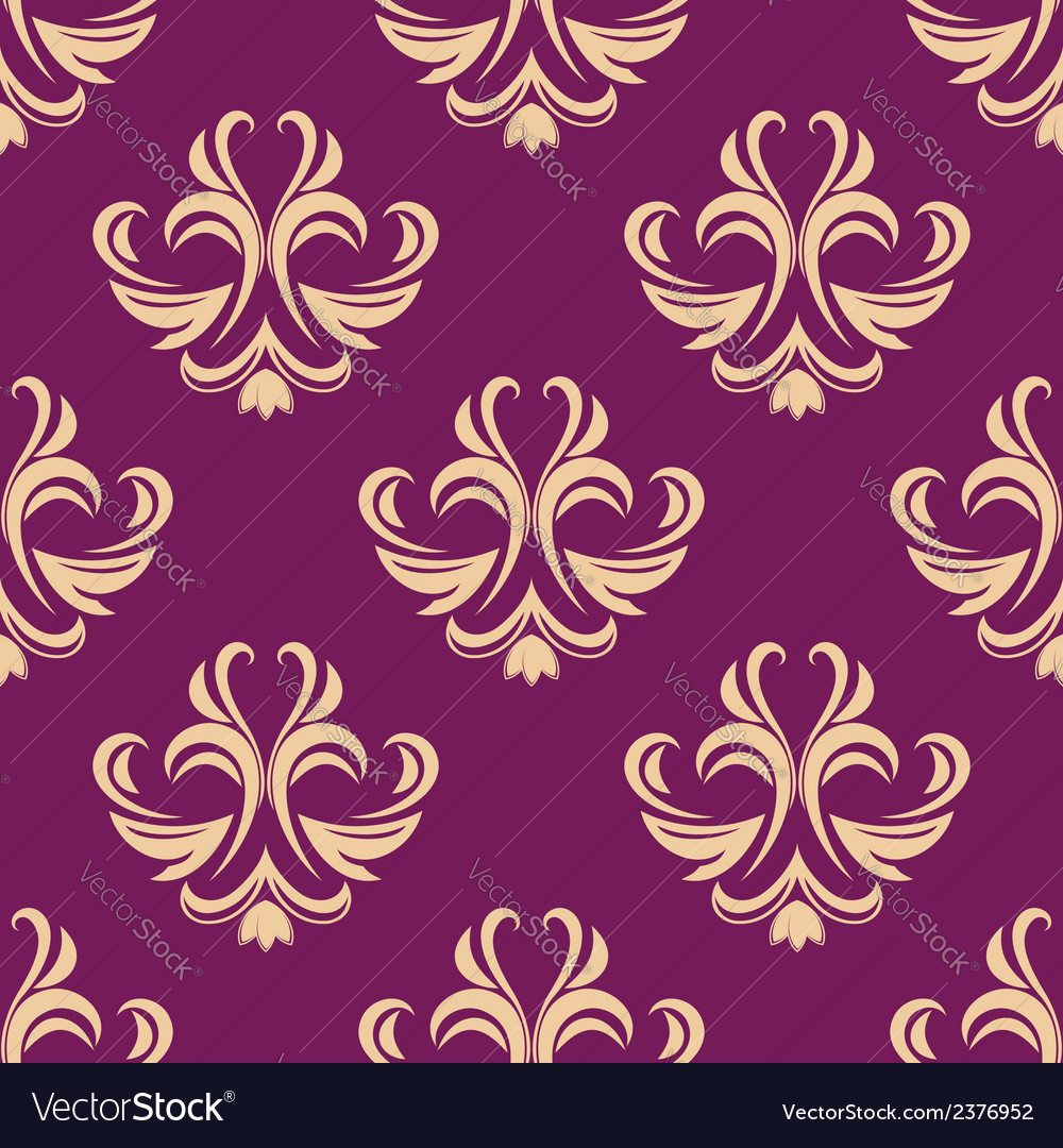 Purple and beige seamless floral pattern vector | Price: 1 Credit (USD $1)