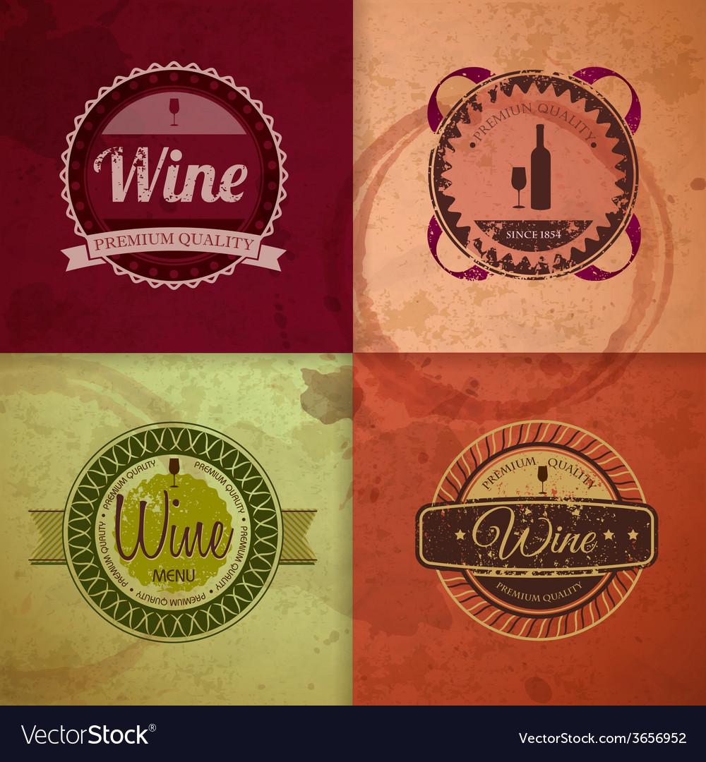 Set of wine vintage labels vector   Price: 1 Credit (USD $1)