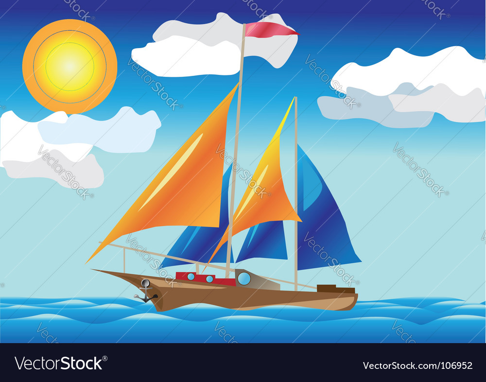 Ship with sails vector | Price: 1 Credit (USD $1)
