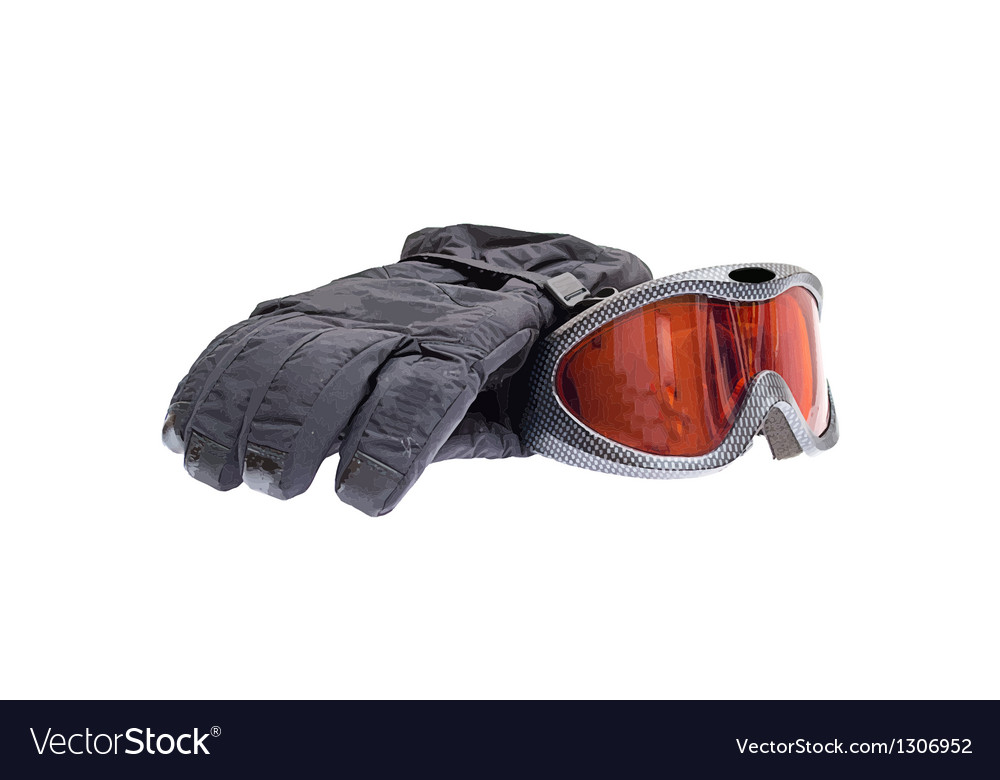 Ski snowboard goggles with gloves isolated on vector | Price: 1 Credit (USD $1)