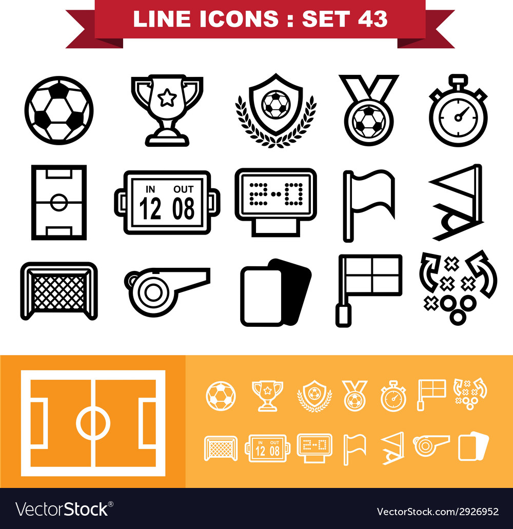 Soccer football line icons set 43 vector | Price: 1 Credit (USD $1)