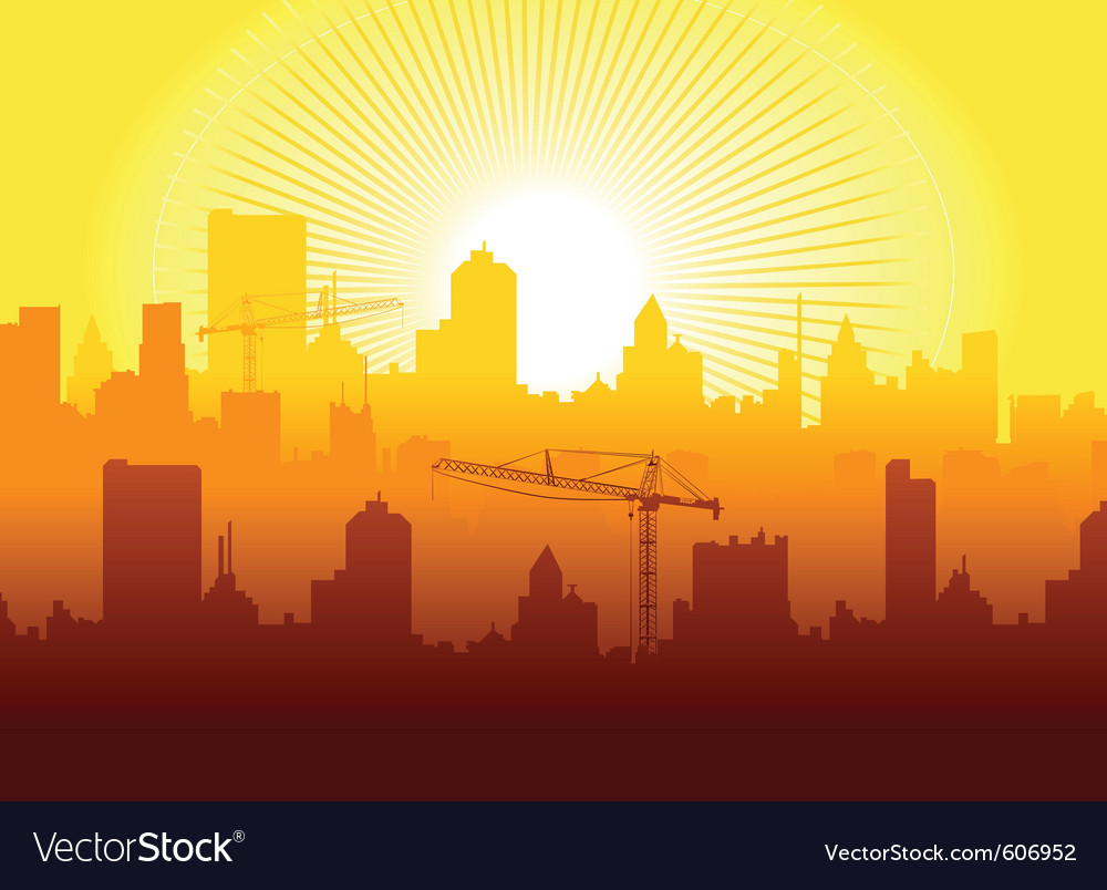 Sunrise in town vector | Price: 1 Credit (USD $1)