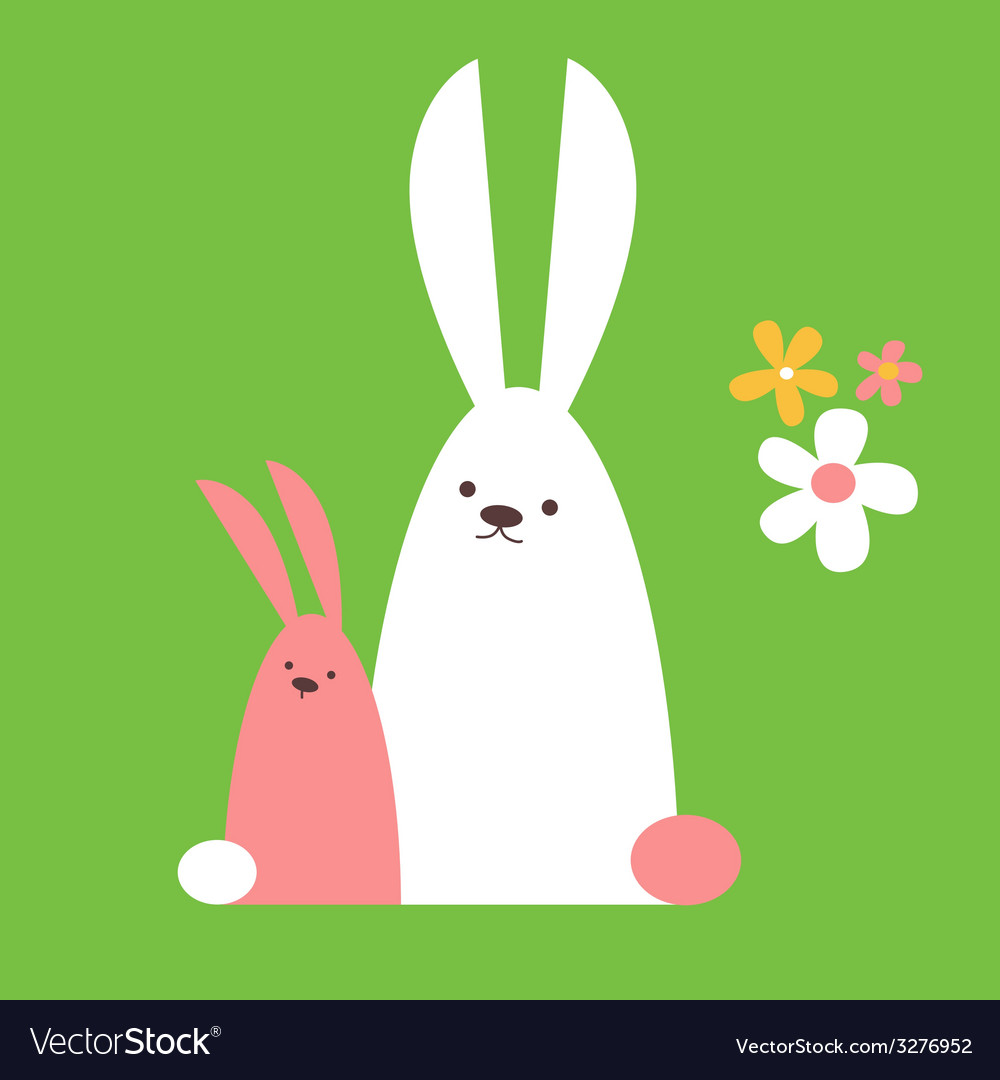 Two cute rabbits vector | Price: 1 Credit (USD $1)