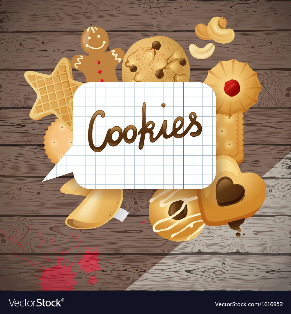 Wooden background with cookies vector   Price: 1 Credit (USD $1)