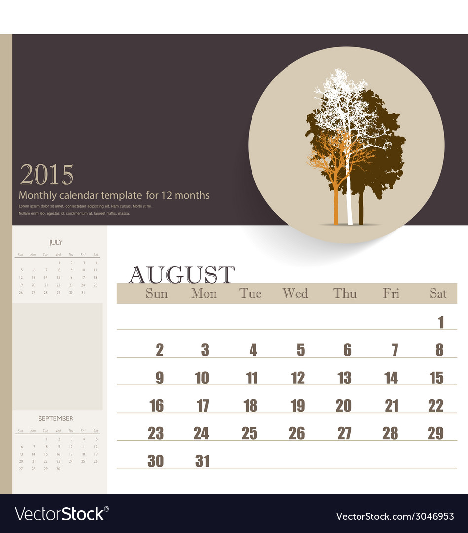 2015 calendar monthly calendar template for august vector | Price: 1 Credit (USD $1)