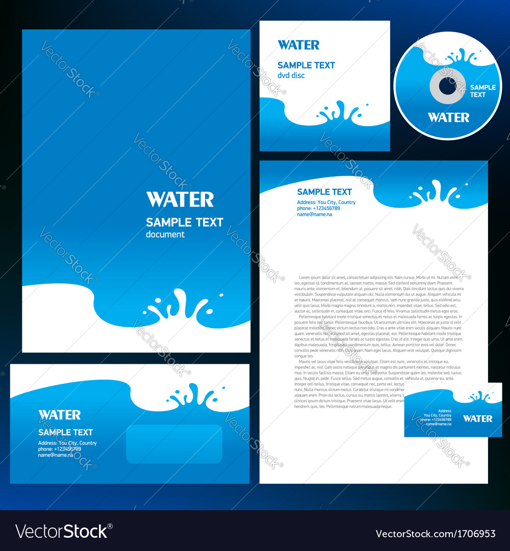 Abstract creative corporate identity blue water vector | Price: 1 Credit (USD $1)
