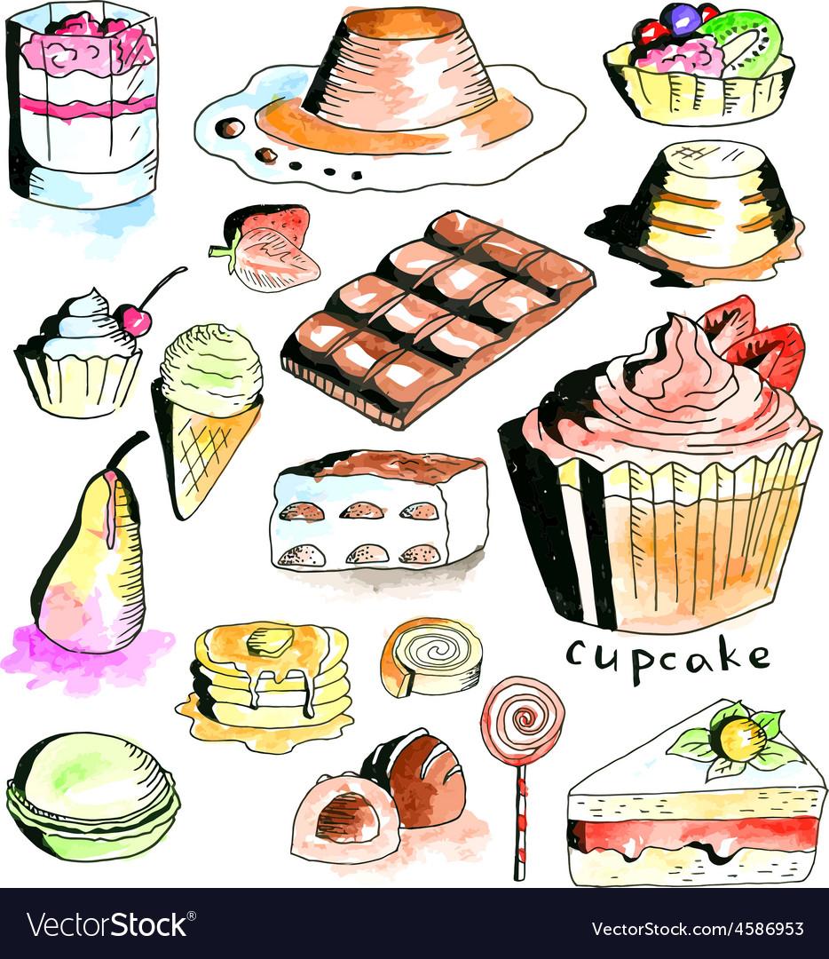 Dessert collection vector