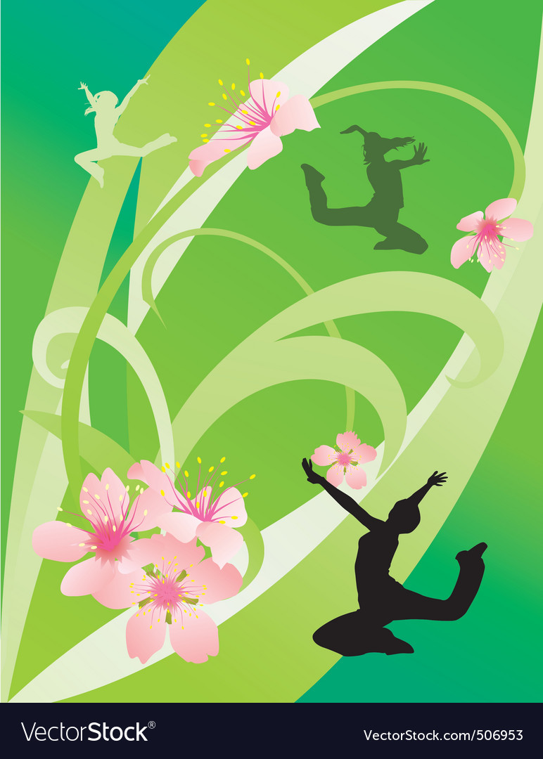 Green abstract with dancing girls vector | Price: 1 Credit (USD $1)