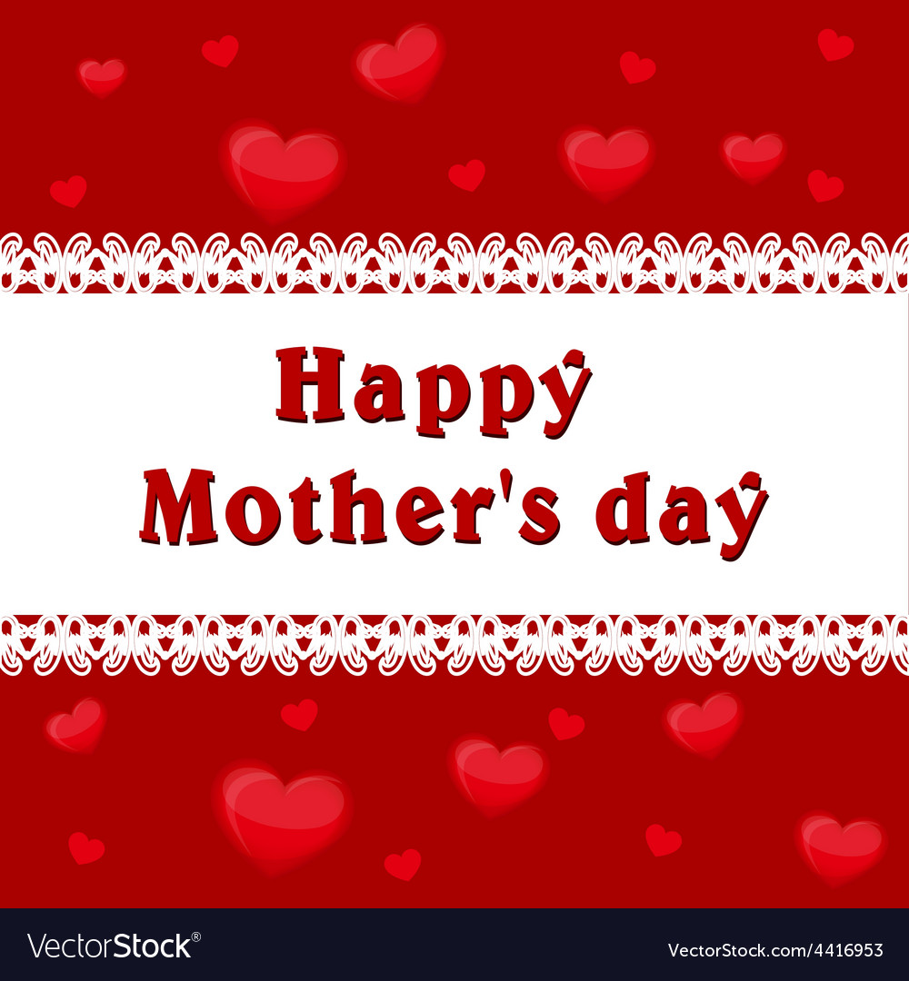 Mothers day background of hearts inscription vector | Price: 1 Credit (USD $1)