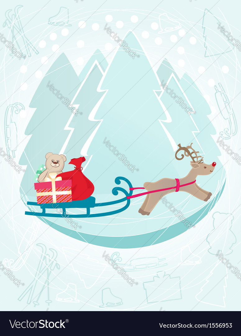 Reindeer pulling a sleigh with christmas gifts vector | Price: 1 Credit (USD $1)