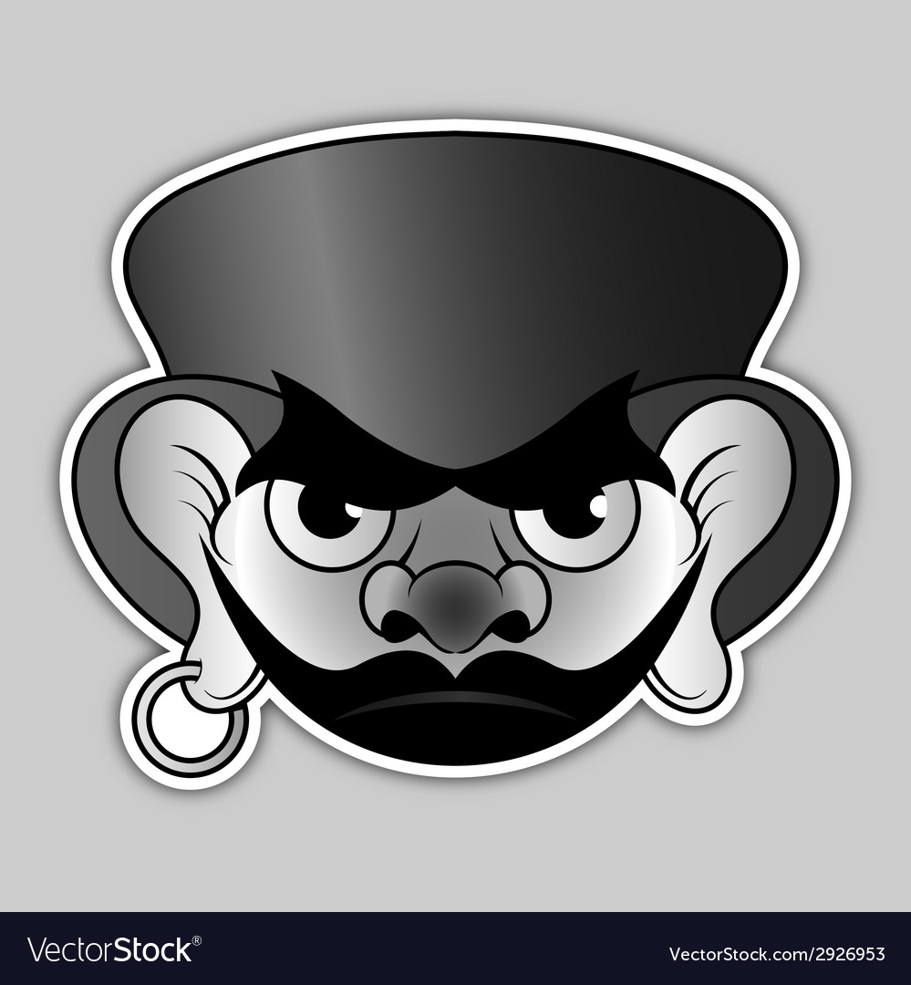 Sticker - evil pirate with hat and earrings vector | Price: 1 Credit (USD $1)