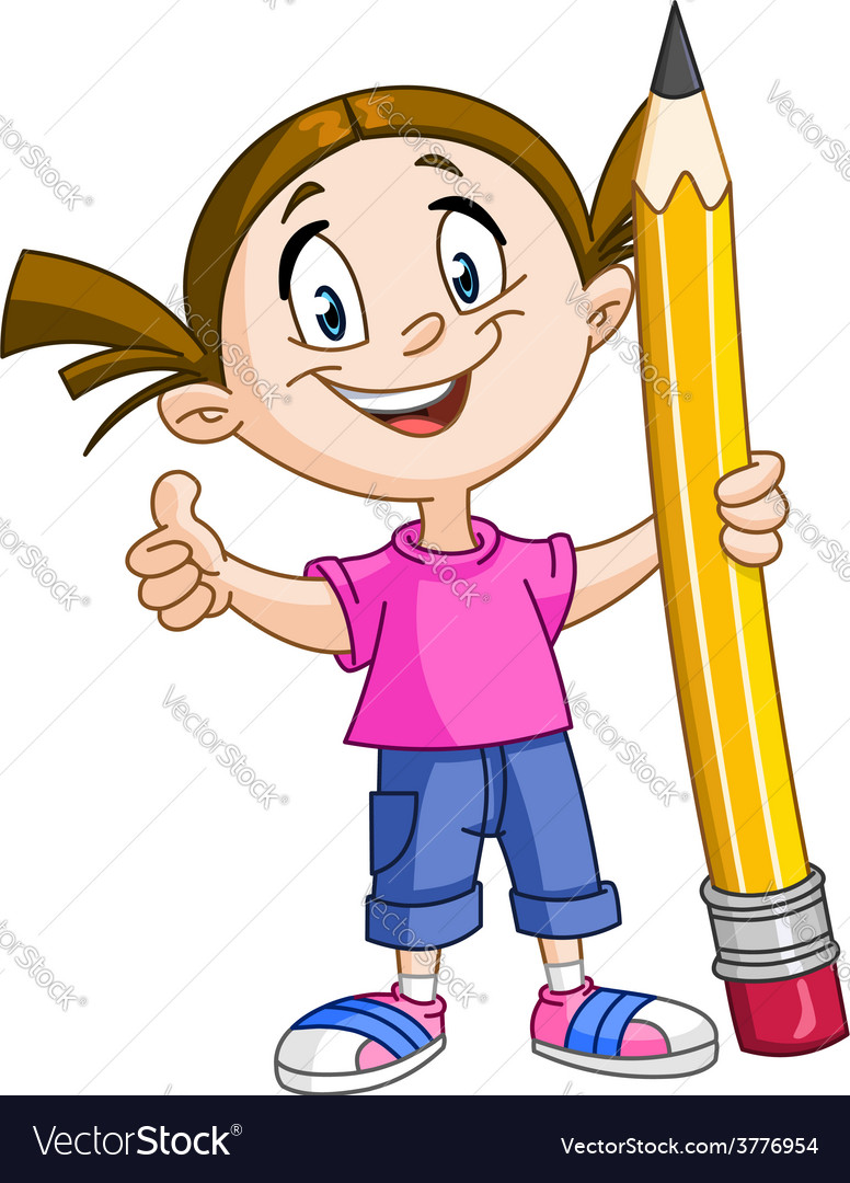 Girl holding big pencil vector | Price: 1 Credit (USD $1)