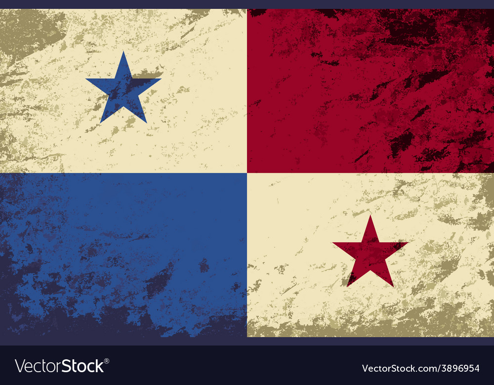 Panamanian flag grunge background vector   Price: 1 Credit (USD $1)