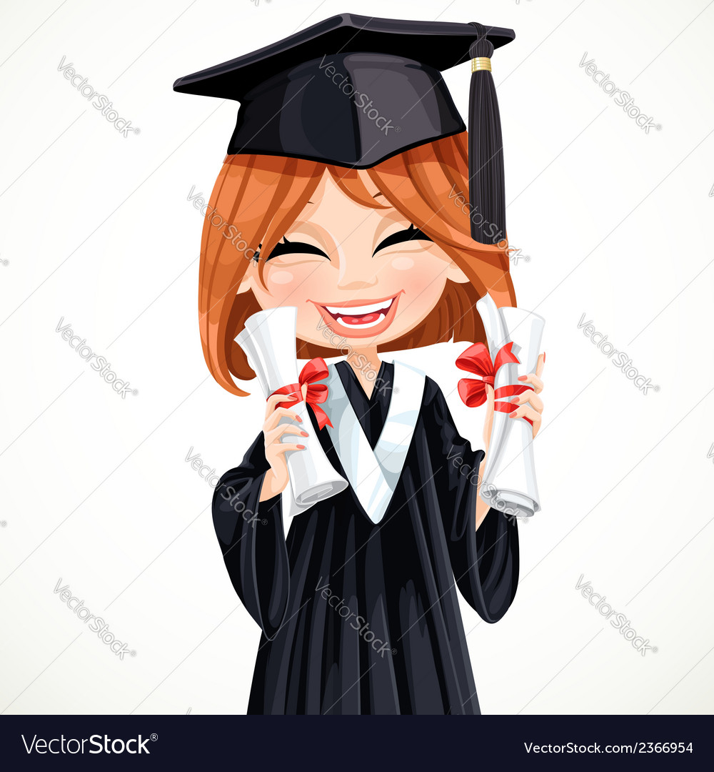 Student girl holding two diplomas vector | Price: 3 Credit (USD $3)
