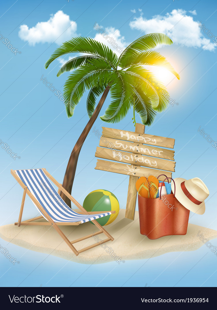Travel background with tropical island summer vector | Price: 1 Credit (USD $1)