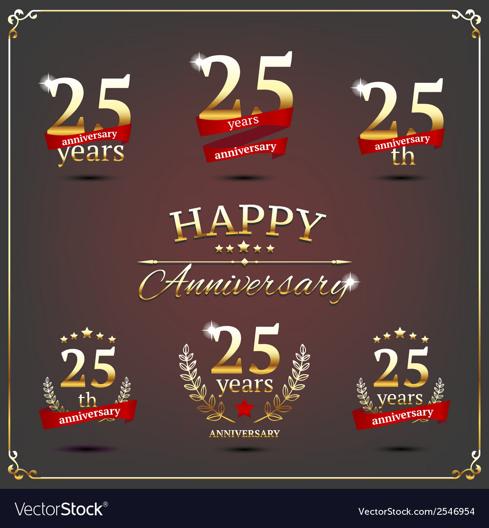 Twenty five years anniversary signs collection vector | Price: 1 Credit (USD $1)