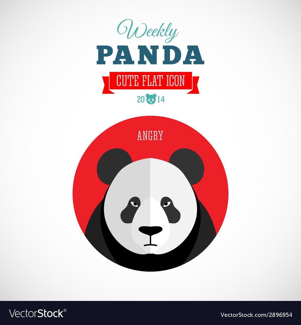 Weekly panda cute flat animal icon - angry vector | Price: 1 Credit (USD $1)