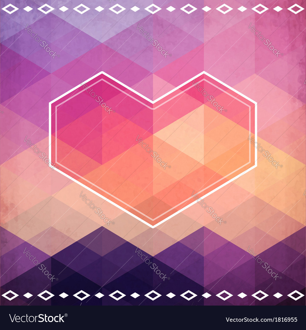Abstract geometric pattern with pink heart vector | Price: 1 Credit (USD $1)