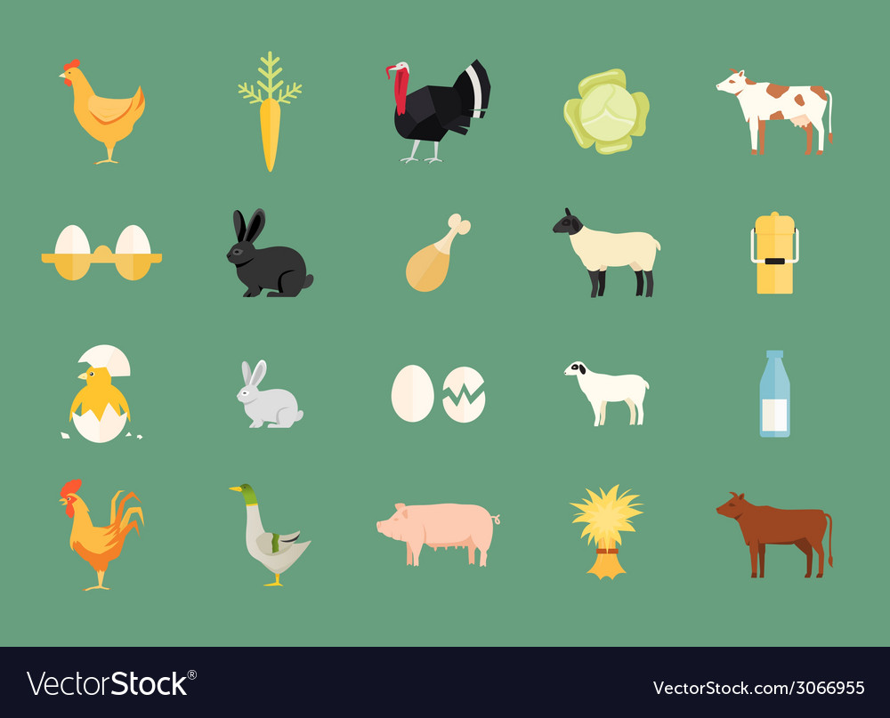 Colorful set of farm animals and produce vector | Price: 1 Credit (USD $1)