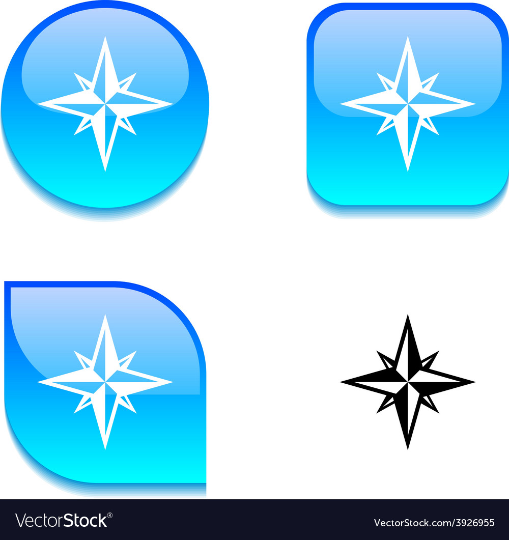 Compass glossy button vector | Price: 1 Credit (USD $1)