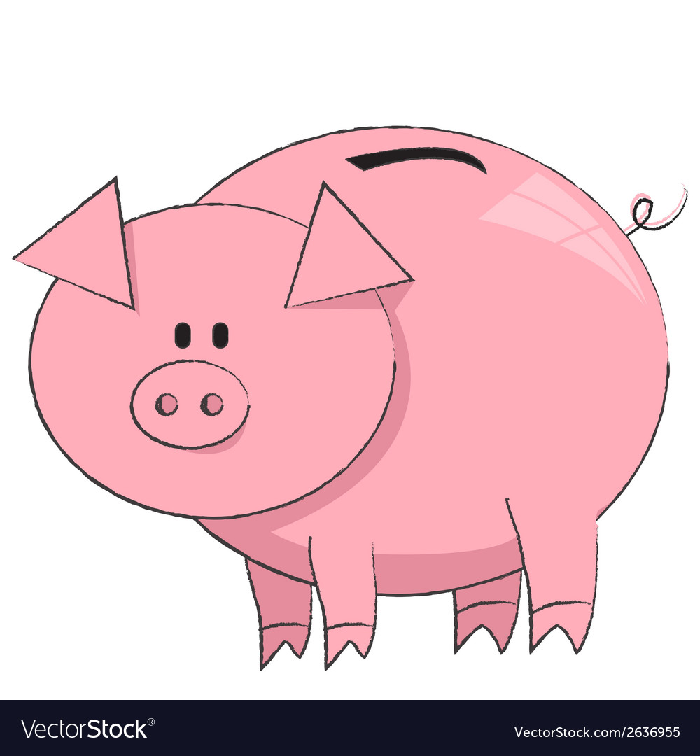 The moneybox pig on white background vector | Price: 1 Credit (USD $1)