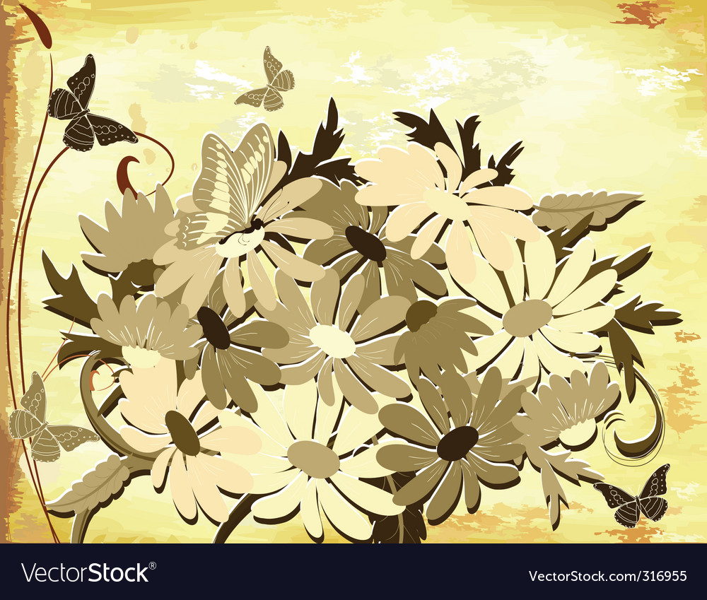 Old paper with daisies vector | Price: 1 Credit (USD $1)
