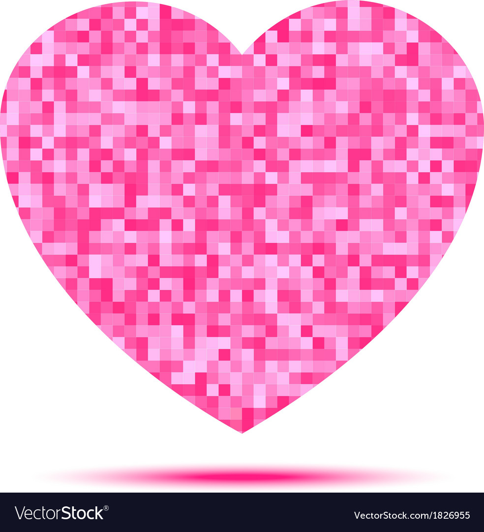 Pink heart pixel icon vector | Price: 1 Credit (USD $1)