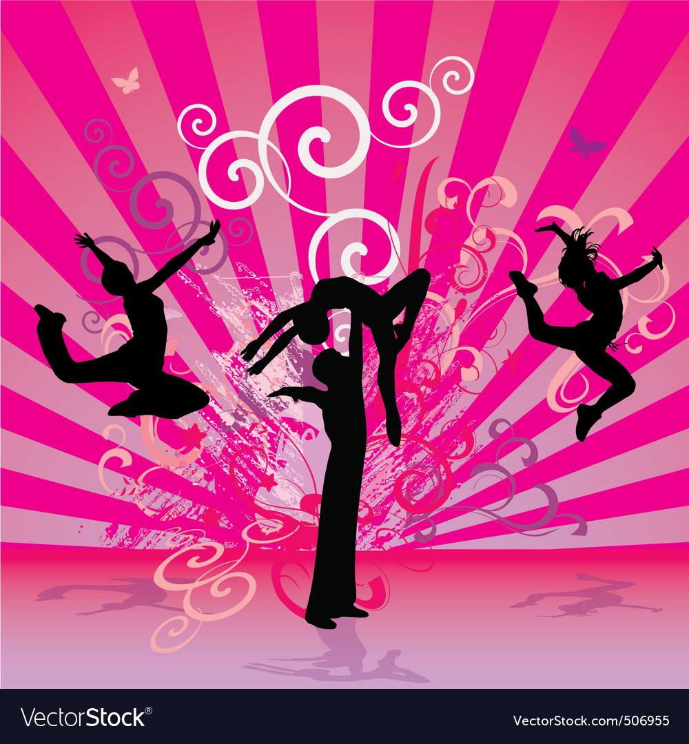 Pink red dance people vector | Price: 1 Credit (USD $1)
