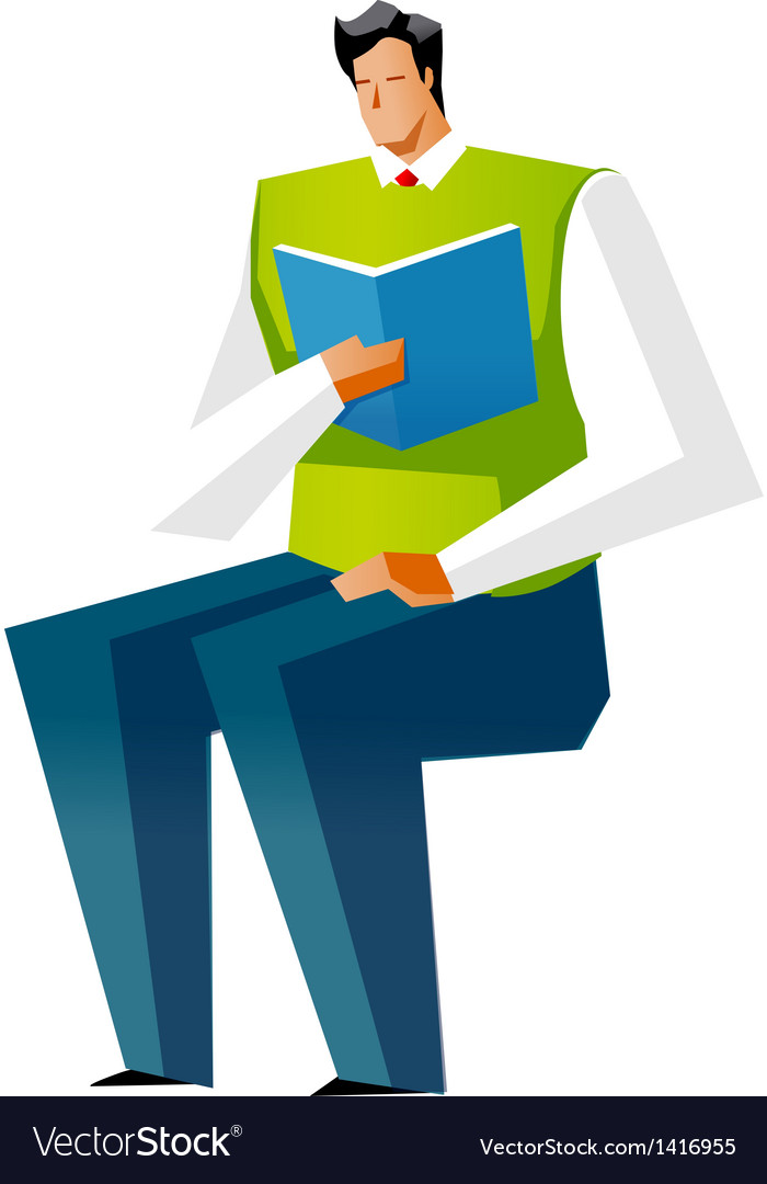 Side view of man reading book vector | Price: 1 Credit (USD $1)