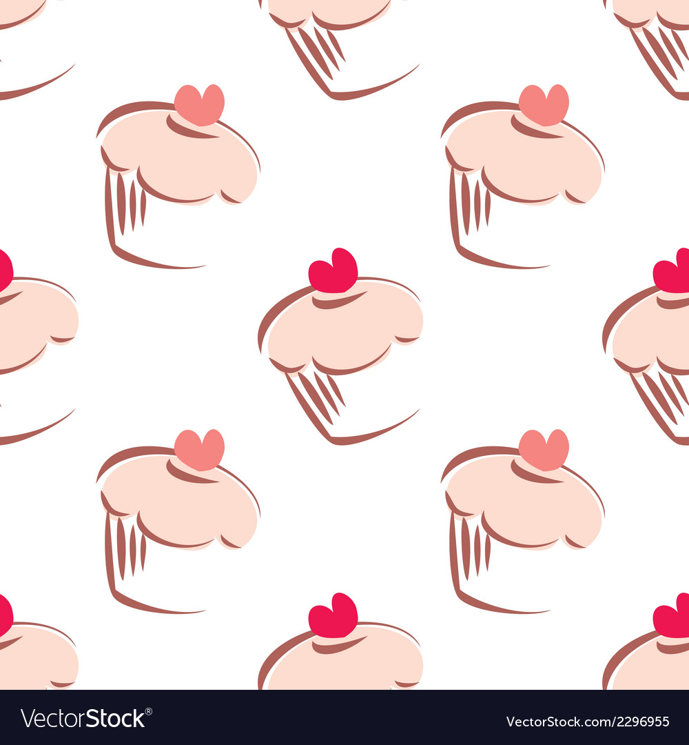 Tile pattern pink cupcakes on white background vector | Price: 1 Credit (USD $1)