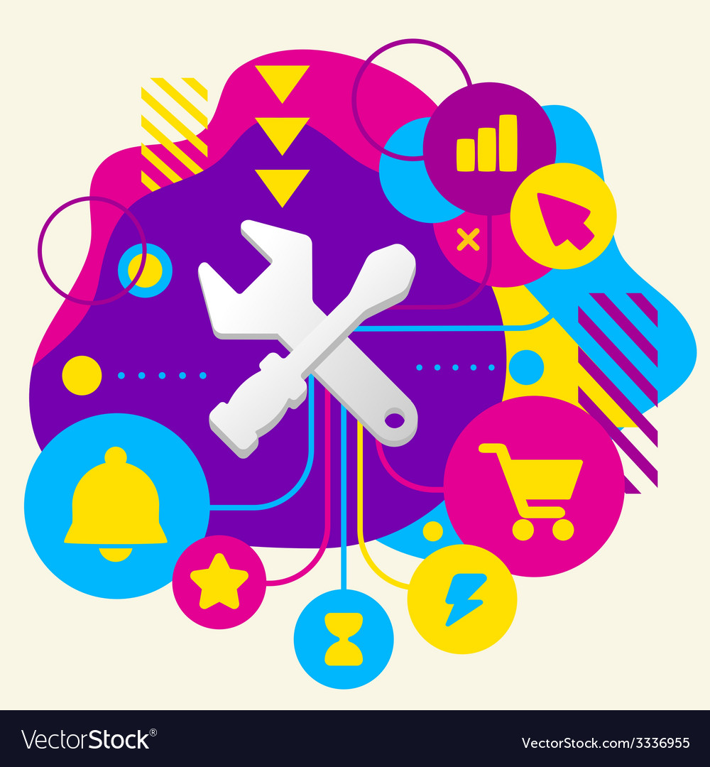 Tools screwdriver and wrench on abstract colorful vector | Price: 3 Credit (USD $3)