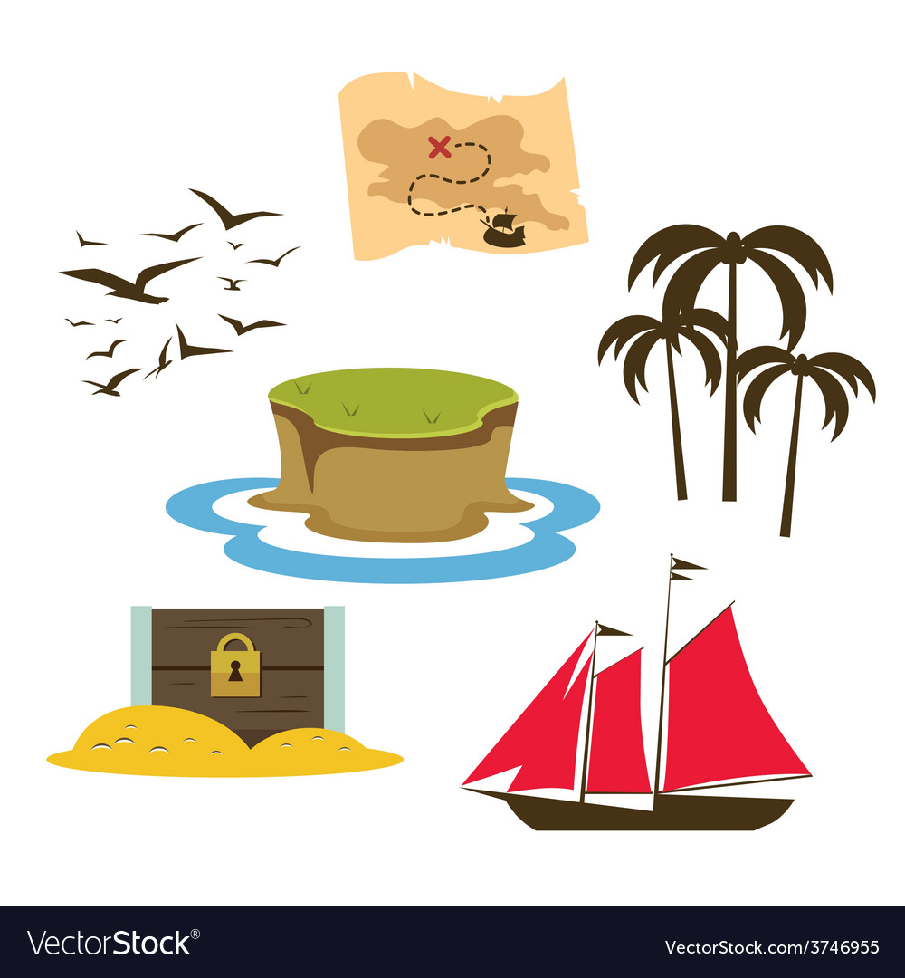 Treasure island game elements vector | Price: 1 Credit (USD $1)