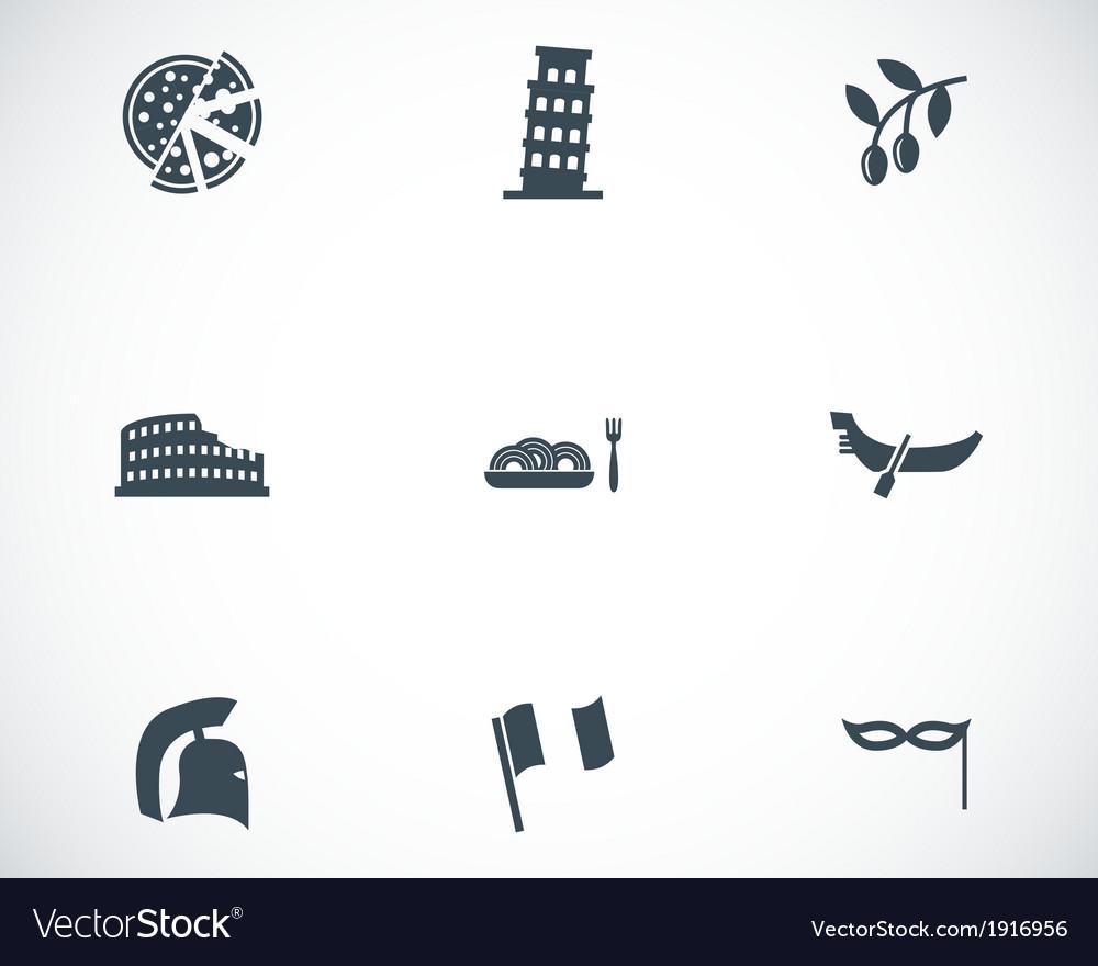 Black italian icons set vector | Price: 1 Credit (USD $1)