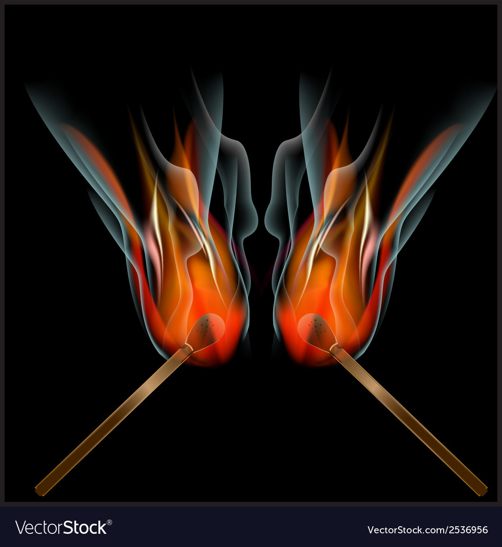 Burning match on black background vector | Price: 1 Credit (USD $1)