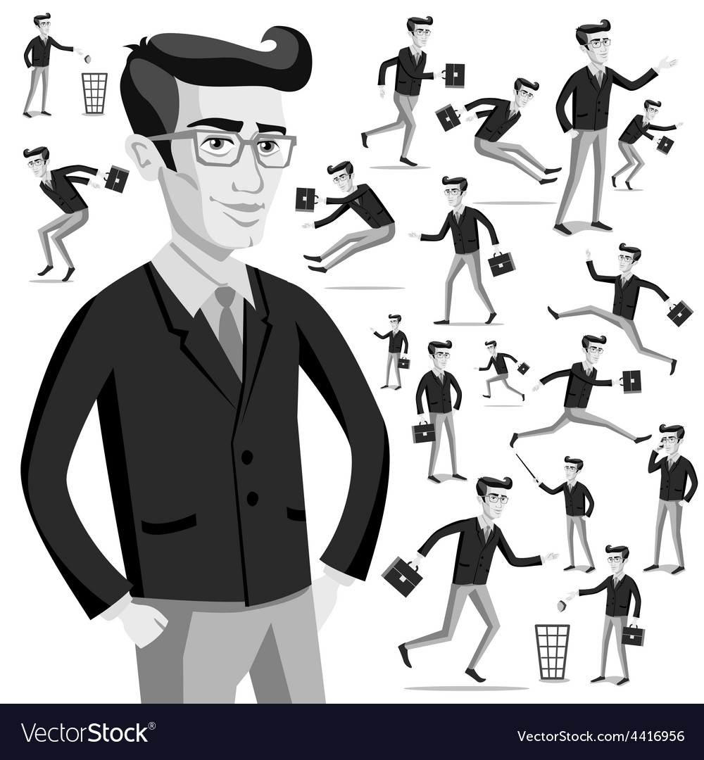Business flat web infographic grey men people vector | Price: 1 Credit (USD $1)