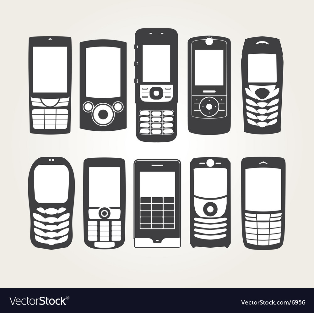 Cellphones outline vector | Price: 1 Credit (USD $1)