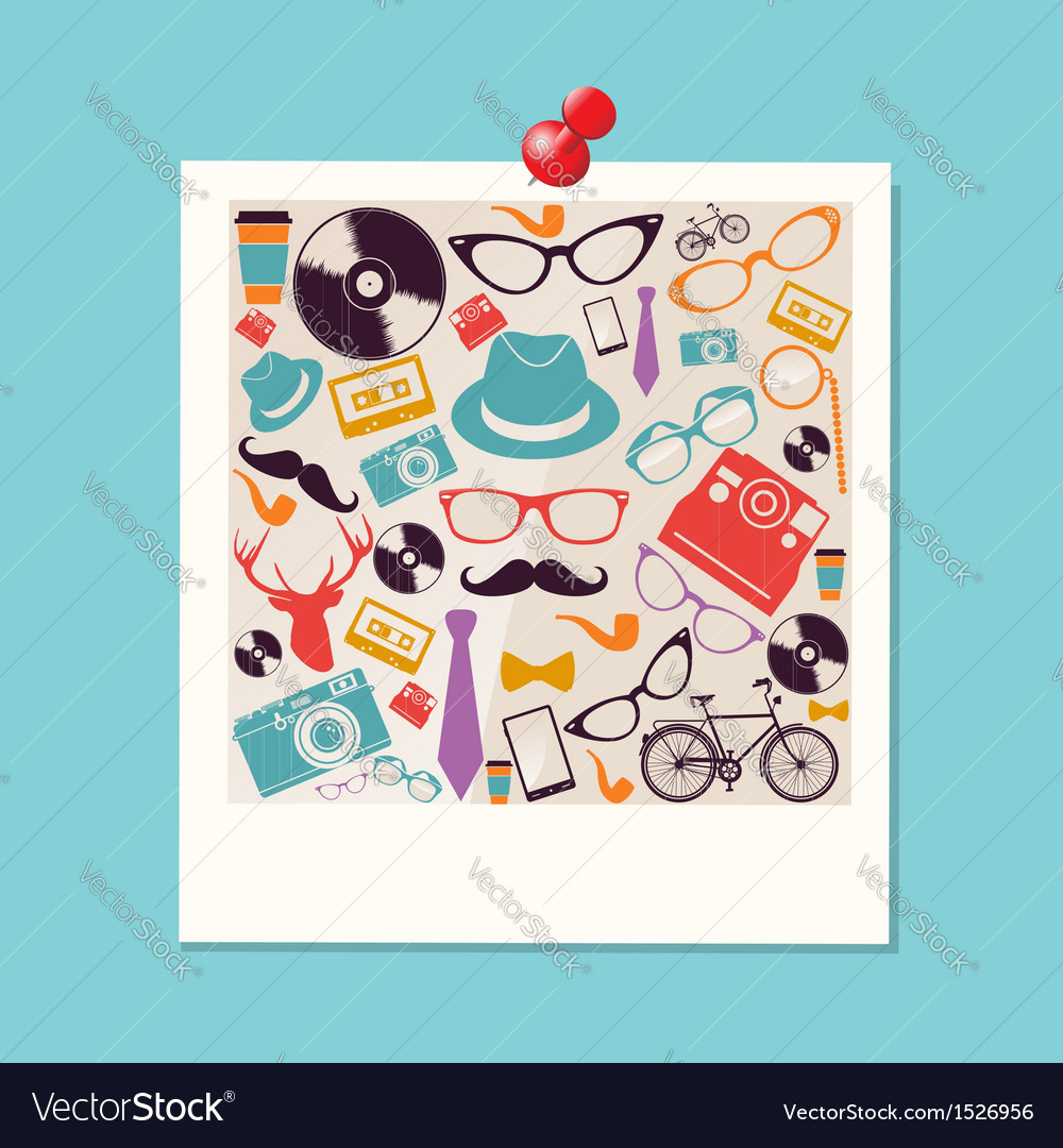 Colorful retro hipsters icons photo vector | Price: 1 Credit (USD $1)
