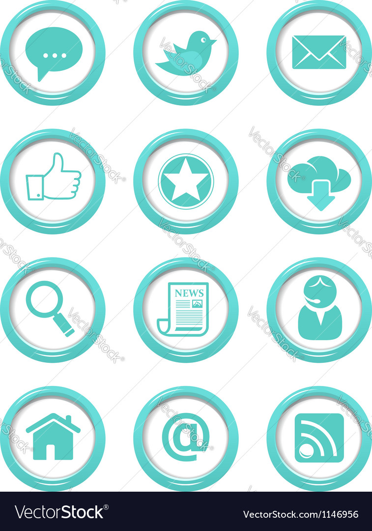 Communication buttons blue set vector | Price: 1 Credit (USD $1)