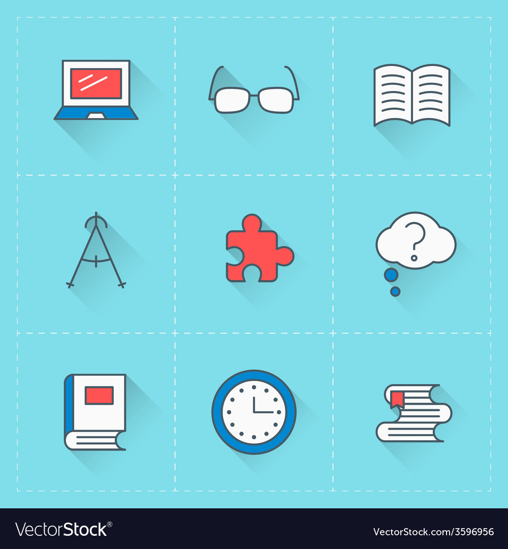 Education icons icon set in flat design style for vector