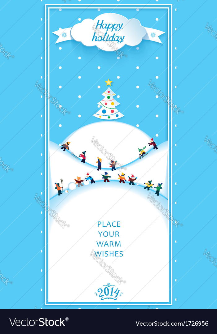 Happy holidays nature landscape vertical banner vector | Price: 1 Credit (USD $1)