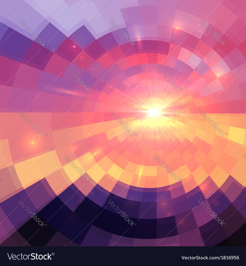 Magic sunset in abstract stained glass vector | Price: 1 Credit (USD $1)
